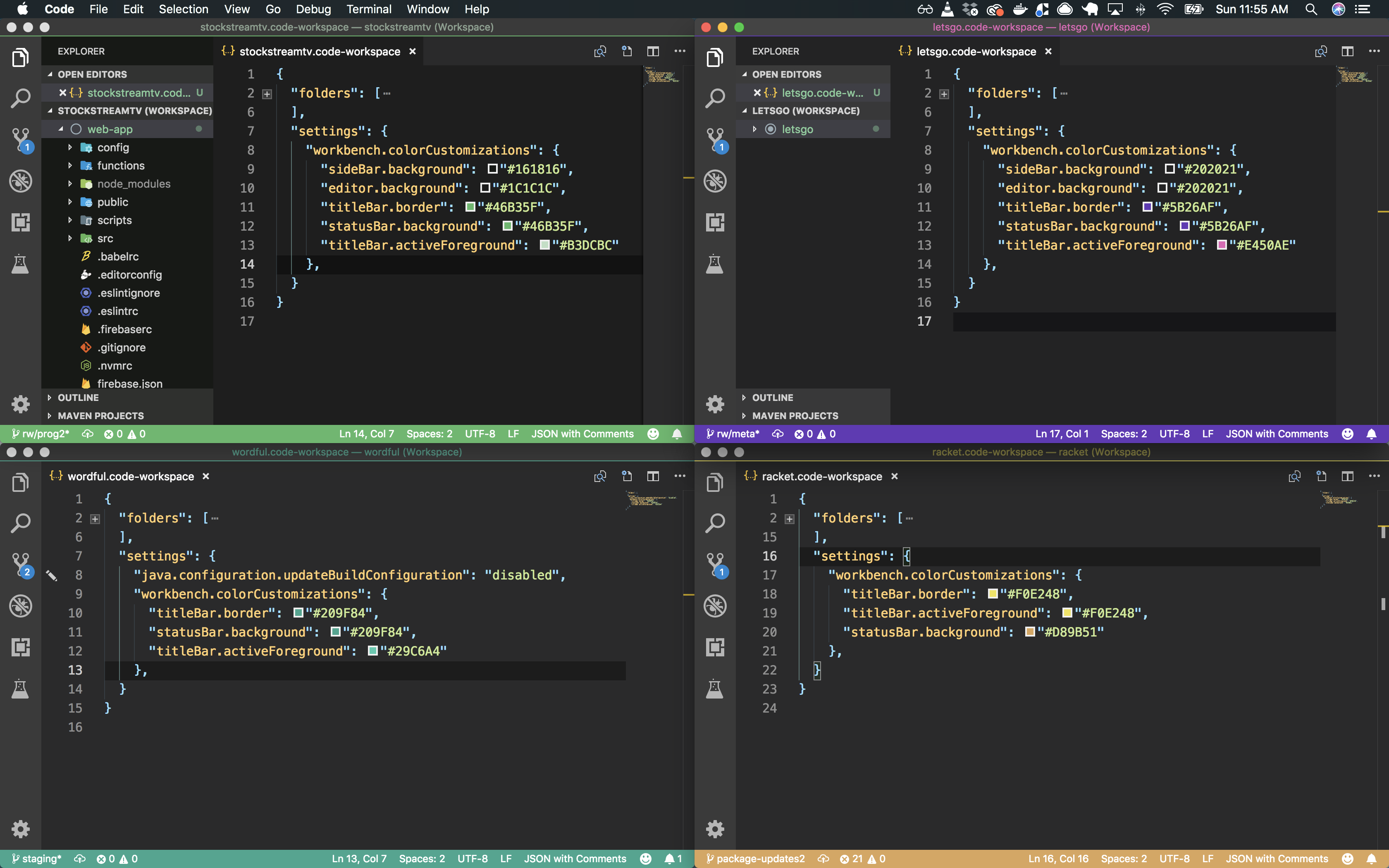 VSCode Workspace Theming
