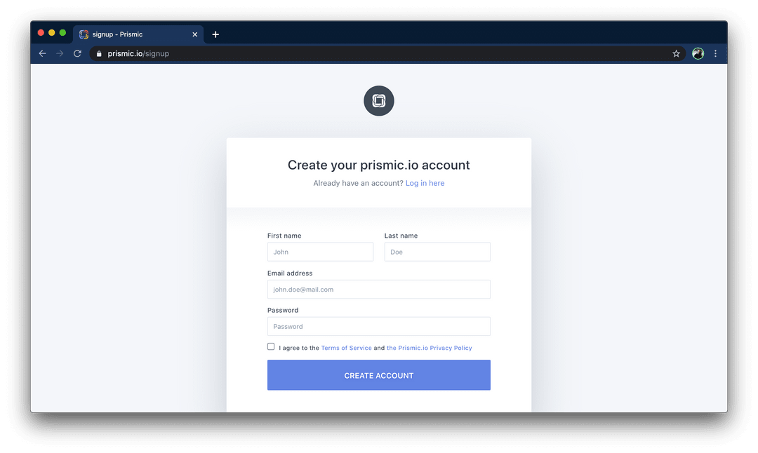 Create Prismic Account